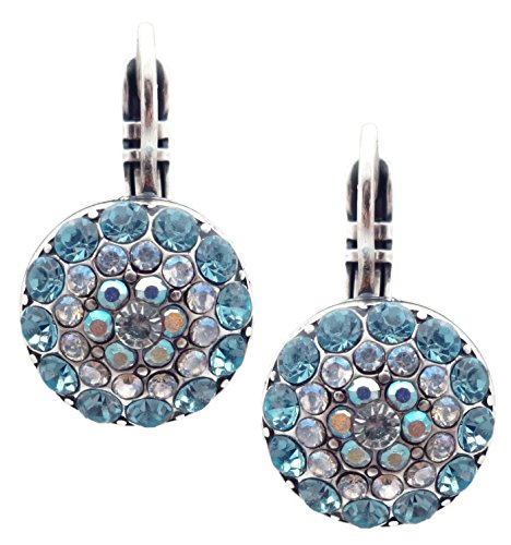 - Mariana Italian Ice Swarovski Crystal Silvertone Earrings Blue & Clear Circle Mosaic Serenity 141