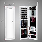 Jewelry Armoire with Mirror Door or Wall Mounted Jewelry Cabinet Organizer for Women
