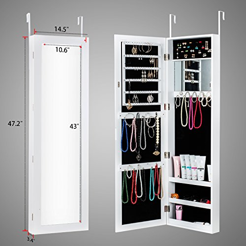 HERRON Jewelry Armoire with Mirror Door or Wall Mounted Jewelry Cabinet Organizer for Women,White by HERRON (Image #3)