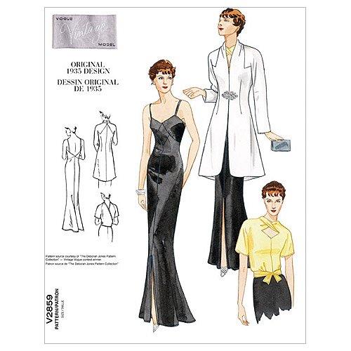 (Vogue Patterns V2859 Misses' Jacket, Blouse and Dress, Size A (6-8-10))