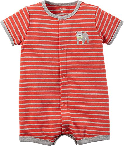 Carters Boys NB-24 Months Bulldog Romper (12 Months) Baby Boys Snap Front