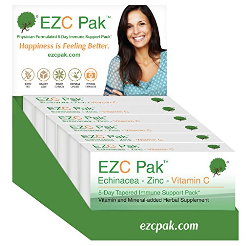 EZC Pak 5-Day Immune System Booster for Cold and Flu Relief (Pack of 6) – Echinacea, Zinc, and Vitamin C, Physician Directed 5-Day Tapered Immune Support Dose Pack