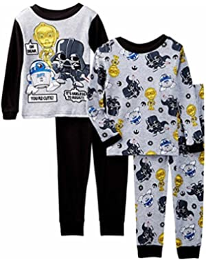 Star Wars Little Boys Toddler 4 Pc Cotton Pajama Set, Sizes 2T-4T