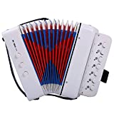 CAHAYA Accordion 7 Keys 2 Buttons Educational Musical Instrument Rhythm Band for Children (White)