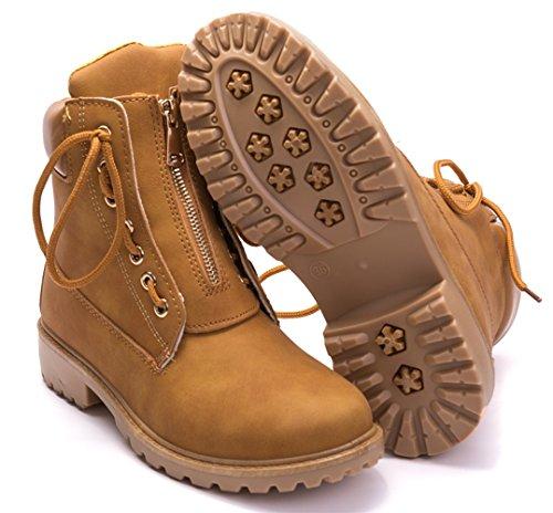 Up Boots Combat Lace Outdoor Brown Zip Women's DADAWEN Trekking Ankle xcFqIZaxwC