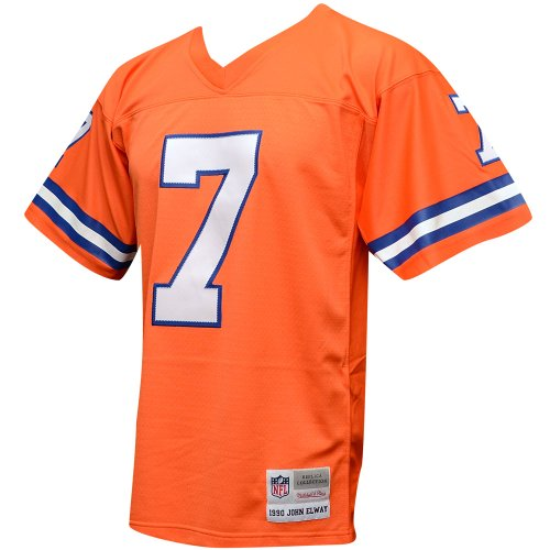 - Mitchell & Ness John Elway Denver Broncos Orange Throwback Jersey Large