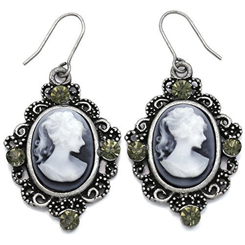 Grey Oval Lady Cameo Earrings Dangle Drop Style Rhinestones Fashion Jewelry