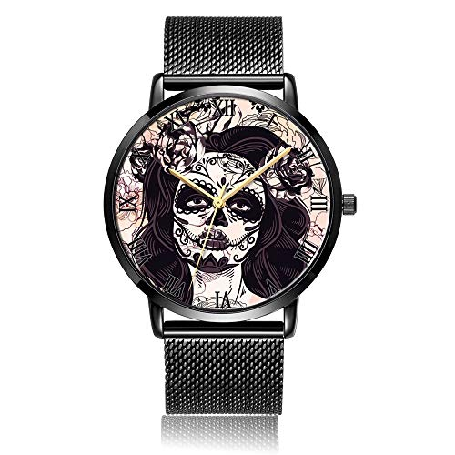 Whiterbunny Customized Sugar Skull Makeup Wrist Watch Unisex Analog Quartz Fashion Black Steel Bracelet Wristwatch for Women and Men -