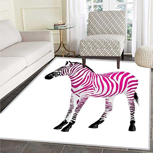 Pink Zebra small rug Carpet Zebra Figure in Pink Stripes Savannah Animal Wilderness Symbol Safari Print door mat indoors Bathroom Mats Non Slip 2'x3' Dust Black ()