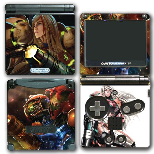 Super Smash Bros Melee Brawl Zero Suit Samus Metroid Varia Suit Video Game Vinyl Decal Skin Sticker Cover for Nintendo GBA SP Gameboy Advance System (Game Boy Metroid)