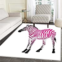 Pink Zebra small rug Carpet Zebra Figure in Pink Stripes Savannah Animal Wilderness Symbol Safari Print door mat indoors Bathroom Mats Non Slip 2x3 Dust Black
