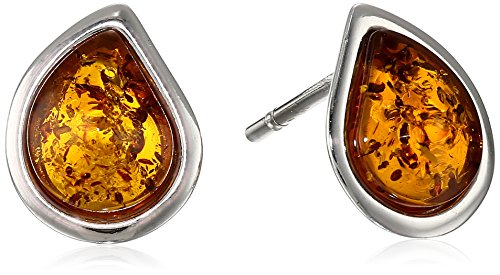 Rhodium Plated Sterling Silver Honey Amber Designer Cut Stud Earrings