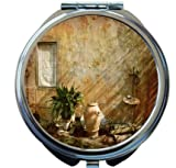 Rikki Knight country garden Tuscany with Plant Design Round Compact Mirror