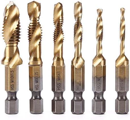 Teabelle Titane M2/Tige hexagonale tarauds /à Main HSS Vis Spirale Point Filetage m/étrique Plug forets M3/M4/M5/M6/M8/M10/Coupe en m/étal en Acier 6/pcs