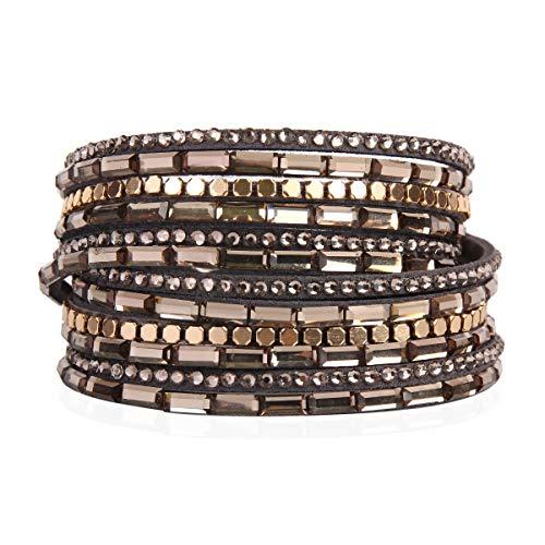 (RIAH FASHION Bohemian Faux Suede Leather Wrap Multi Layer Bracelet - Boho Wrist Adjustable Cuff Bangle Crystal Rhinestone/Metallic Bead/Natural Stone Embellishment (Baguette Crystal - Gray))
