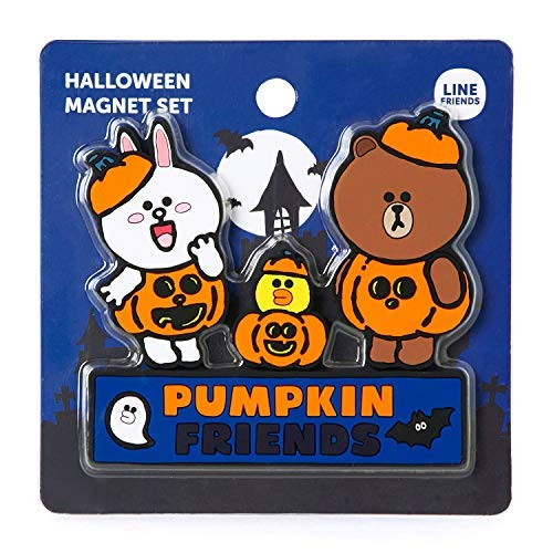 Magnet Trio Set - Line Friends Pumpkin Trio Halloween Series - Pumpkin Friends Character Small Magnet Set for Refrigerator and Whiteboard