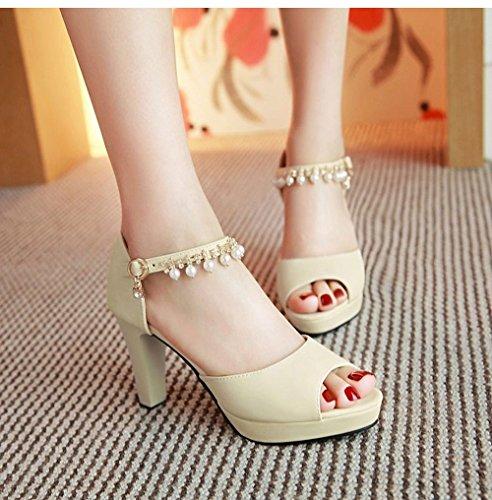 Flop Ladies sandali toe scarpe Flip Peep di Alta estivi LI heelsWomen BAJIAN scarpe sandali basse fTga4HBH