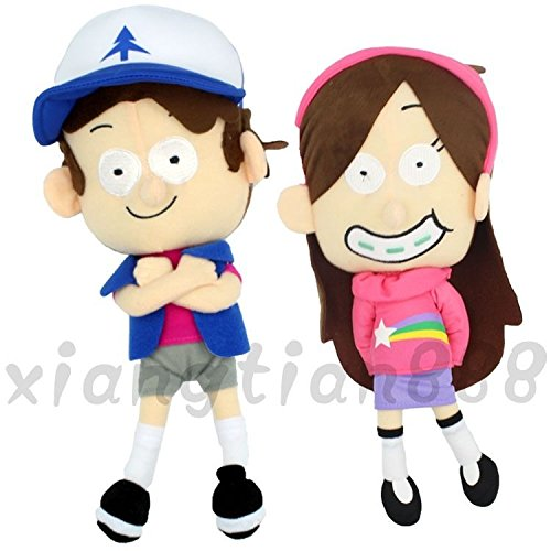 "2PCS 12"" Anime Gravity Falls Dipper Pines&Mabel Pines Plush"