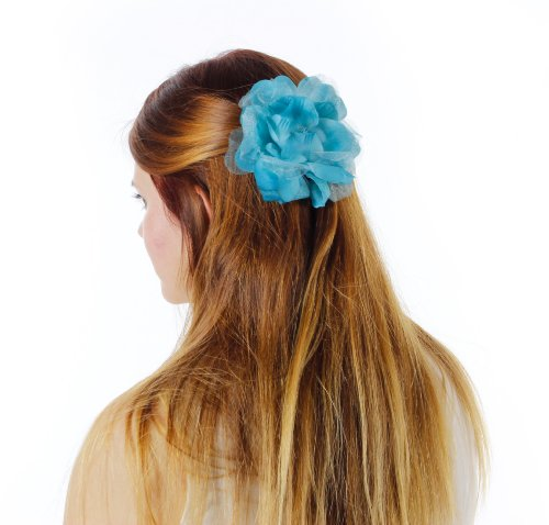 Almost Famous Hair Flower Rose Clip with Rhinestone Center Hat Colors: Turquoise