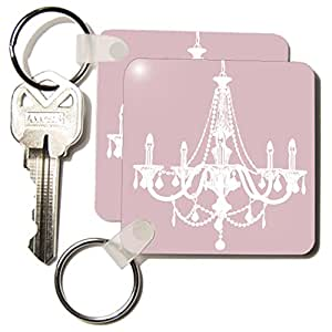 kc_192799_1 PS Vintage - Pink and White Chic Chandelier - Key Chains - set of 2 Key Chains