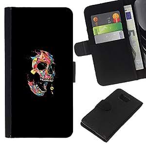 YiPhone /// Tirón de la caja Cartera de cuero con ranuras para tarjetas - Colorido Cráneo Polígono - Pop Art - Samsung ALPHA G850