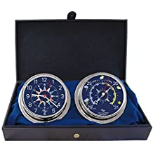 """Master-Mariner Blue Mariner Collection, Nautical Cabin Gift Set, 5.75"""" Diameter Clock and Barometer Instruments, Chrome finish, Blue Signal Flag dial"""