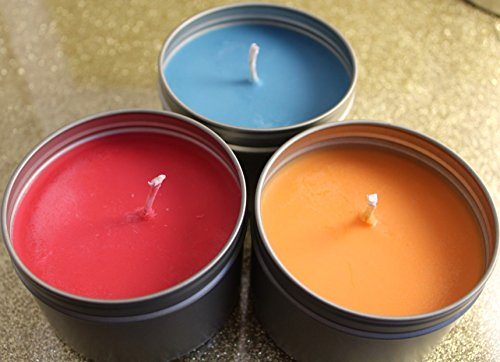 Sweet Creations Scented 3 Soy Candle Tins 8 oz, Trio, Bundle ()