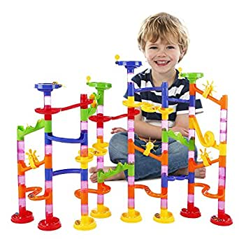 BATTOP Marble Run Railway Toy Marble Run Coaster Railway Construction Child Building Blocks DIY Game for Over 4 Years Old Kids
