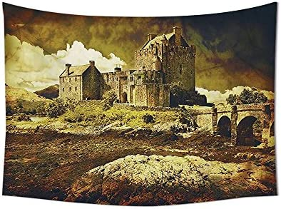 asddcdfdd Medieval Decor Tapestry Wall Hanging Old Scottish Castle in Vintage Style European Middle Age Culture Heritage Town Photo Bedroom Living Room Dorm Decor Grey Green