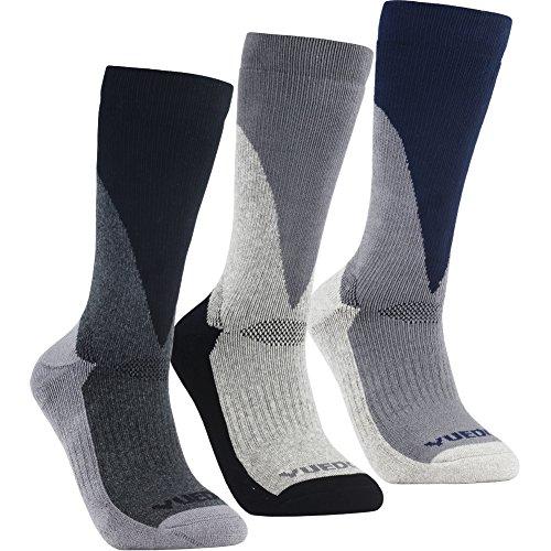 Men's Hiking Socks - YUEDGE 3 Pairs Anti Blister Wicking Cushion Socks Outdoor Sports Multi Performance Walking Hiking Socks(L) (Acrylic Multi Sport Socks)