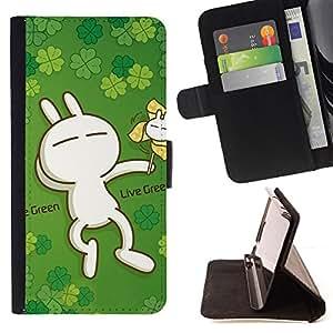 - Cute Live Green Rabbit - - Monedero PU titular de la tarjeta de cr????dito de cuero cubierta de la caja de la bolsa FOR Sony Xperia Z1 L39 RetroCandy