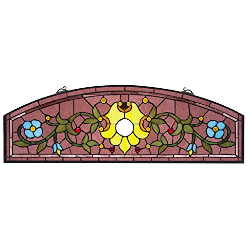 (Stained Glass Panel - Ambrosia Demi-Lune Stained Glass Window Hangings - Window Treatments)