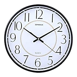 Metal Round Dial Wall Clock, Silent White Digital Clock PVC Dial Abs Sheet Hanging Clock Clear Large Pointer Modern Clock Living Room-Black 14 Inches