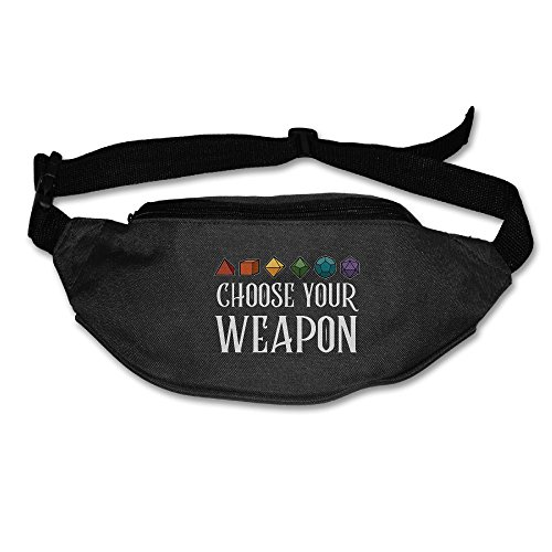 Ada Kitto Choose Your Weapon Dice Mens&Womens Lightweight Travel Waist Bag For Running And Cycling Black One Size
