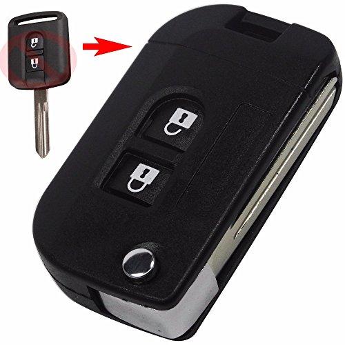 Heart Horse 2 Buttons Remote Key Shell Car Case Fob Compatible with Nissan Qashqai primera Micra Navara Almera Note Sunny