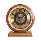HAOFAY Desktop Clock, Non-Tick, European Style Living Room Vintage Stitching Solid Wood Clock, Bedroom Bedside Battery Powered Quartz Clock