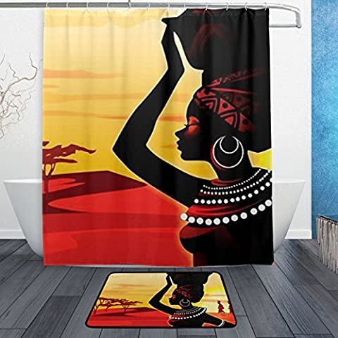 BAIHUISHOP African Women PatternMachine Washable for Everyday Use,Includes 60x72 Inch Waterproof Shower Curtain, 12 Shower Hooks and 1 Non-slip Bathroom Rug Carpet - Set of (Men Bathroom Rug Set)