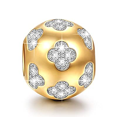 Ninaqueen 925 Sterling Silver Gold Plated Flowers Charms Fit Pandora Bracelet