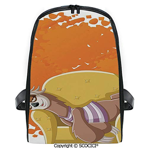 SCOCICI Casual Stylish Backpack Lazy Female Cartoon Sloth on Sofa Napping on Couch Dreaming Mascot Speech Bubble Decorative 2019 Deals! One Size