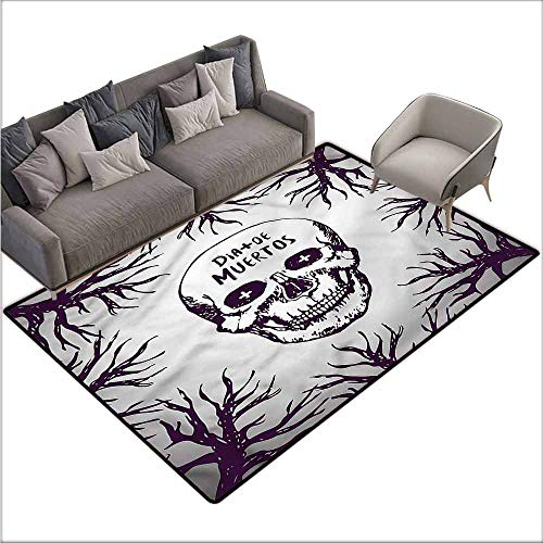 Anti-Slip Coffee Table Floor Mats Mexican,Spooky Gothic Halloween 60