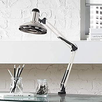 Modern Architect Style Desk Lamp Brushed Nickel Clamp On