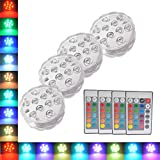 OUSHE Submersible LED Lights with Remote Control Waterproof Underwater Battery Powered 16 RGB Multi Color Changing 10 LED Lights for Decoration Christmas Event Party Aquarium Vase Base Swimming Pool Pond Gardens