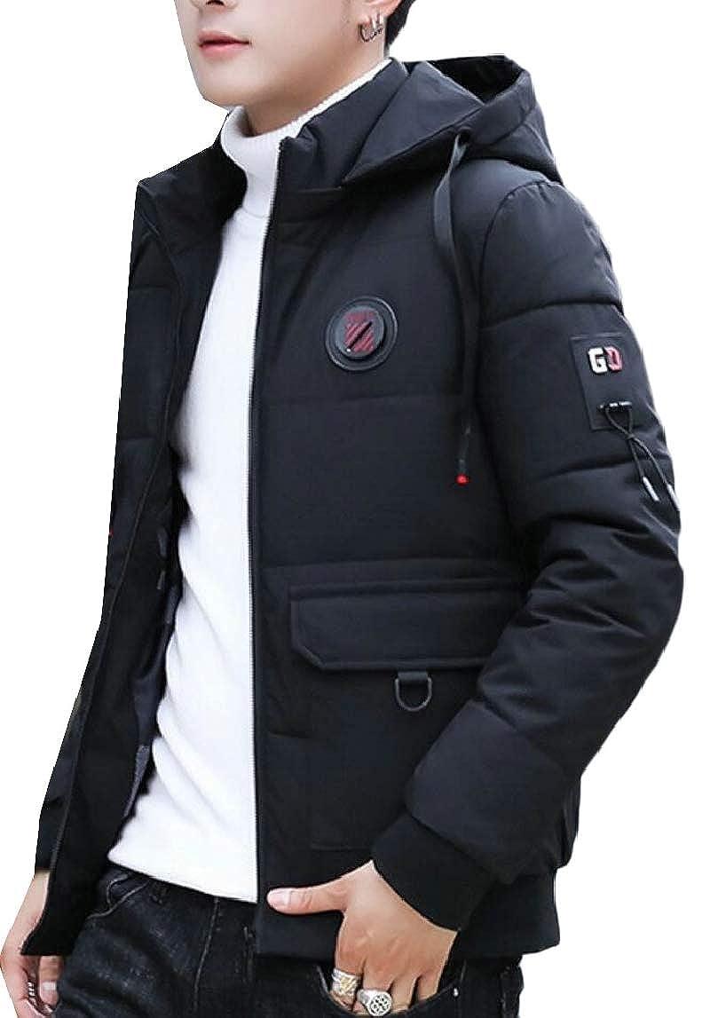 HTOOHTOOH Mens Warm Outdoor Quilted Winter Front-Zip Stylish Hoodies Down Jacket Coat