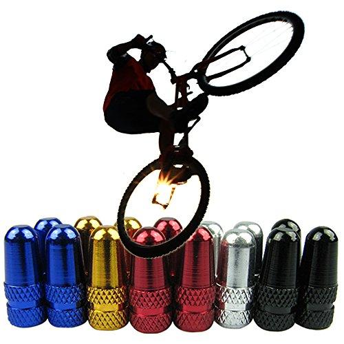 Yuauy 20 Pcs Bike Bicycle Road Racing Coloured Metal Valve Cap Dust Covers