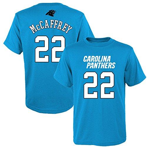 (OuterStuff Christian McCaffrey Carolina Panthers #22 Blue Youth Name & Number Shirt Large 14/16)