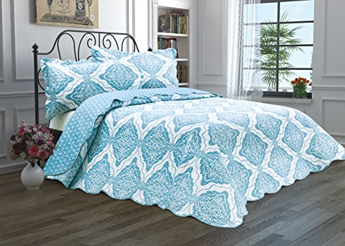 Ashley Single Bed - 3 Piece Quilt Set with Shams Reversible Bedspread Matelasse Bedcover Double-Sided Bedding Coverlet Lightweight Comforter Oversized Linen Looking Luxurious Bed Cover (Damask-King)