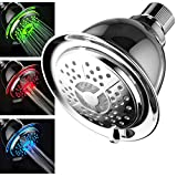 PowerSpa All Chrome 4-Setting LED Shower Head with Air Jet LED Turbo Pressure-Boost Nozzle Technology; 7 colors of LED Lights change automatically every few seconds