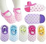 Pro1rise® 5 Pairs Baby Girls Toddler Cartoon Dots Anti Slip Skid Foot Socks No-Show Crew Cotton Socks Sneakers 10-30 Months