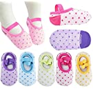 Pro1rise® 5 Pairs Baby Girls Toddler Cartoon Dots Anti Slip Skid Foot Socks No-Show Crew Cotton Socks Sneakers 10-30 Months
