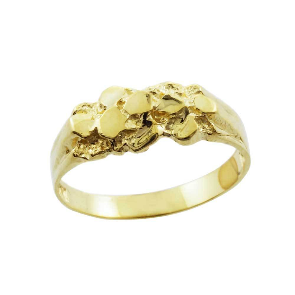 Solid 10k Yellow Gold Polished Nugget Baby Ring (Size 5)